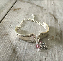 Del Mar Silverware Handle Link Bracelet with pink beads and pewter cross charm