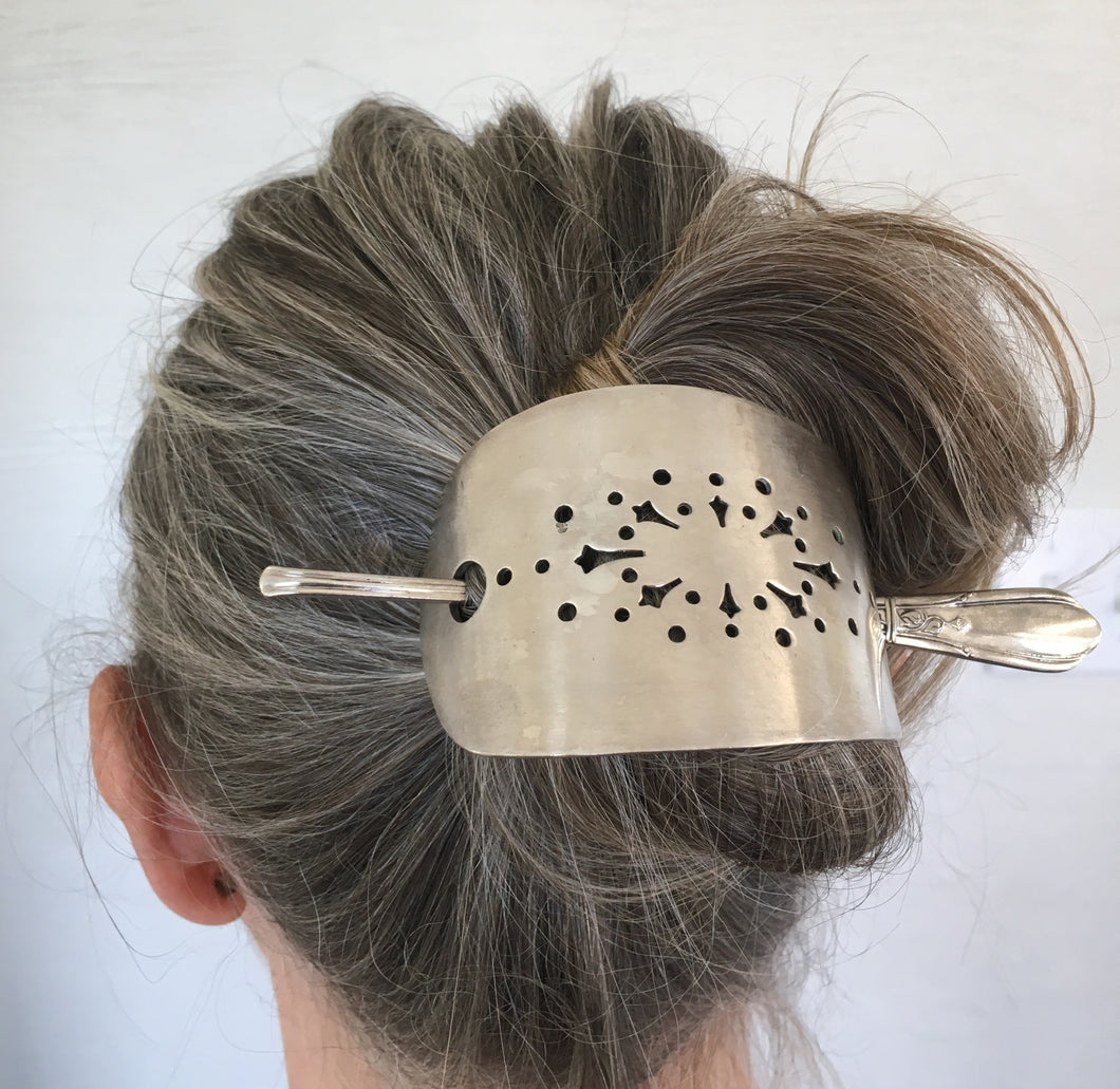Stick Barrette for the hair upcycled from a vintage cake server