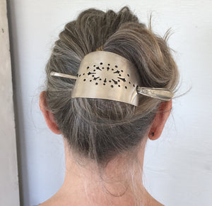 Stick Barrette for the hair upcycled from a vintage pie server