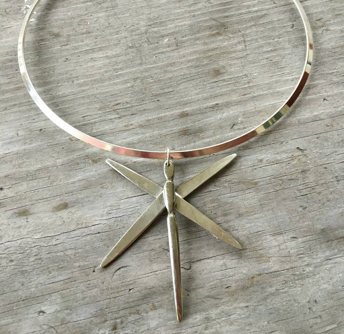 Dragonfly from Fork Tines Necklace on Silverplate Cuff - #3668