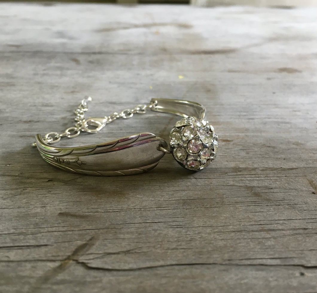 Spoon Link Bracelet Rhinestone Dome Button