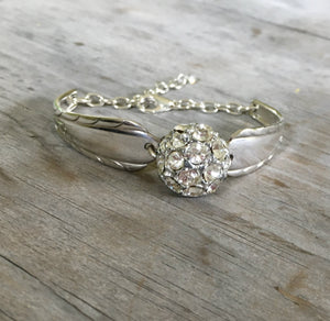 Upcycled Spoon Handle Bracelet with Rhinestone Center Piece from Recycled Button