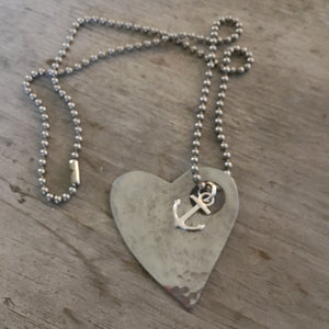 HAND made spoon necklace hammered heart design
