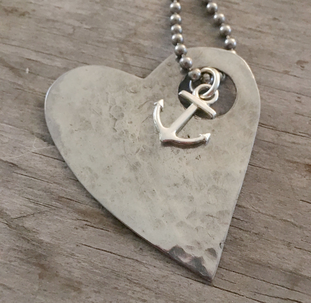 Stylized Heart Necklace from Upcycled Spoon
