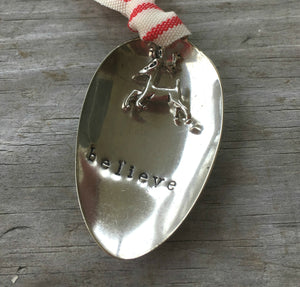 Stamped Spoon Ornament - BELIEVE