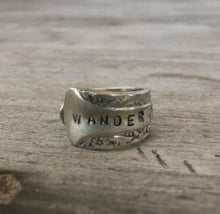Spoon Ring INternational Silver Camelia Hand Stamped Wander