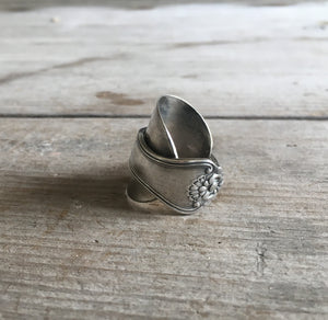 Upcycled Spoon Ring Whole Spoon Overlap Wrap Ring Size 7