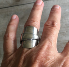Upcycled Spoon Ring Whole Spoon Overlap Wrap Ring Size 7 Shown on Hand for Scale