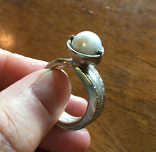 Spoon Ring with Cultured Pearl Bead Mounted on Top Size 9.5