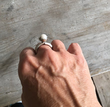 Spoon Ring with Cultured Pearl Bead Mounted on Top Size 9.5 Shown on hand for scale