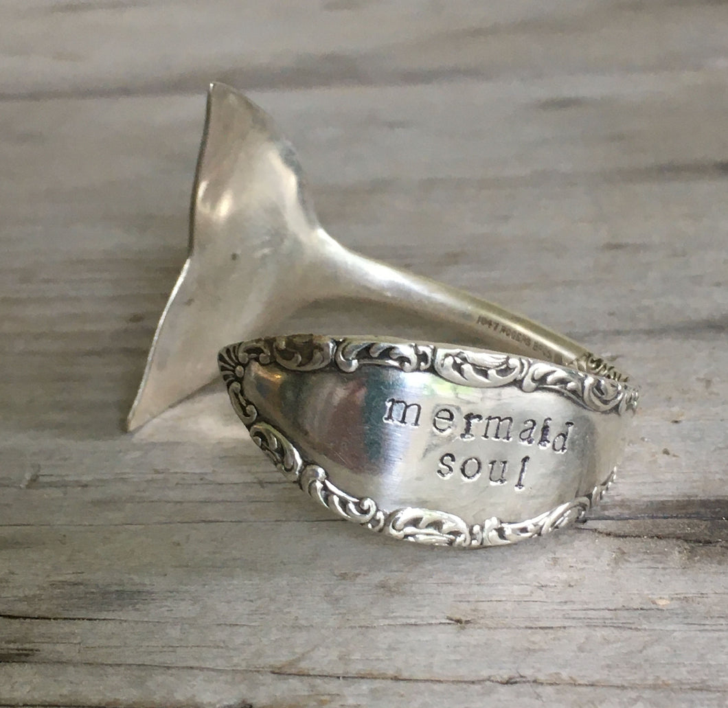 Stamped Spoon Bracelet Mermaid Soul with Tail Fin End
