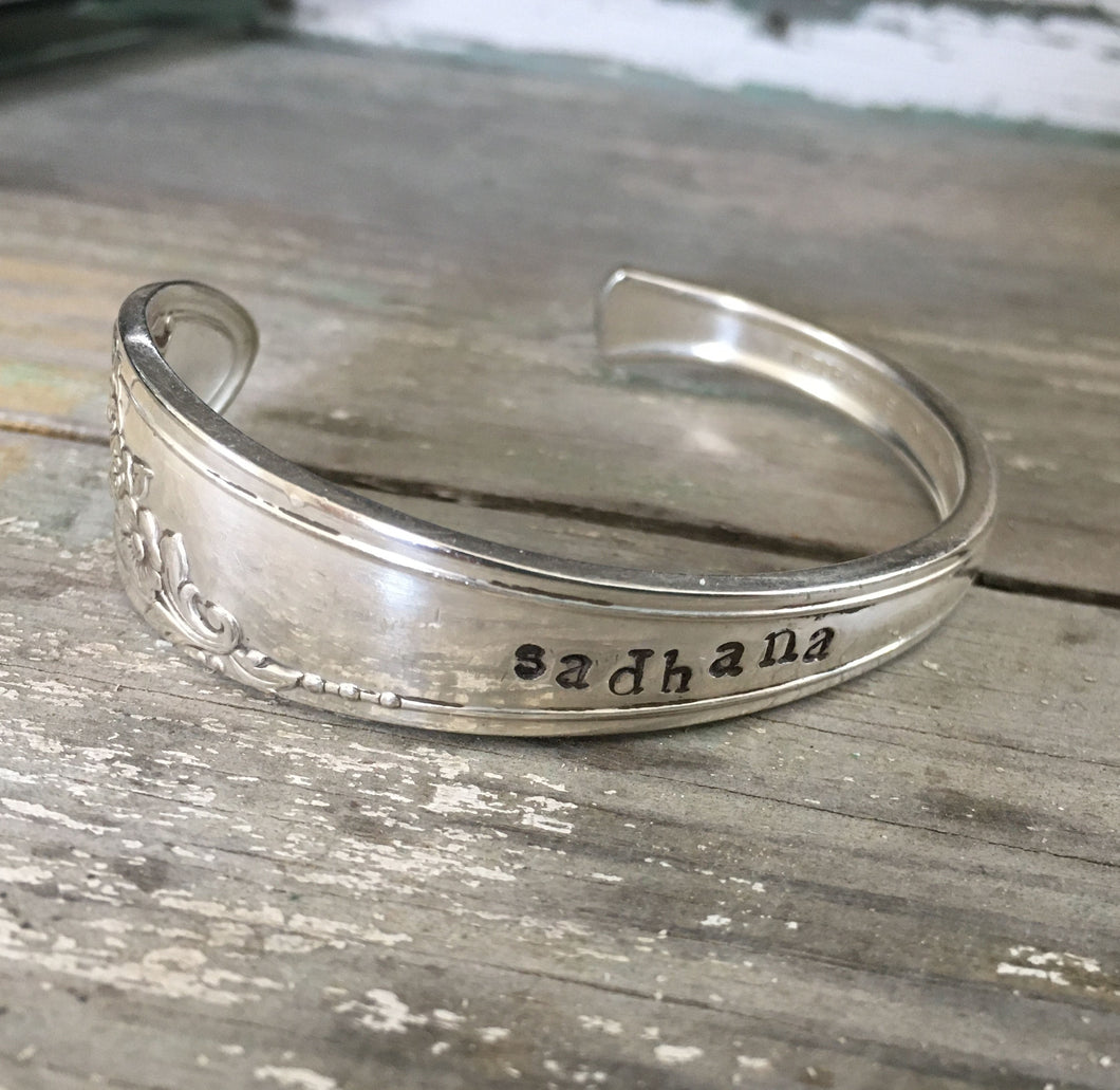 Yoga Jewelry Eco Friendly Spoon Cuff Bracelet Hand Stamped Sadhana
