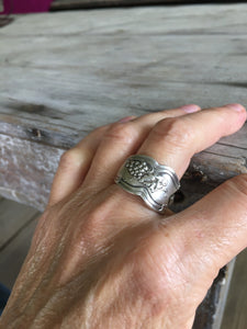 Spoon Ring with Grapes Detail Shown on Mode
