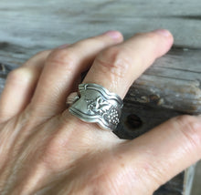 Close Up of Spoon Ring with Grapes Detail Shown on Model