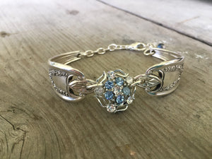 Bracelet made from vintage spoon handles and vintage rhinestone jewelry