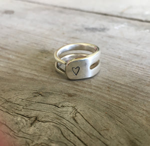 Silverware Jewelry Fork Tine Ring Stamped with a Heart