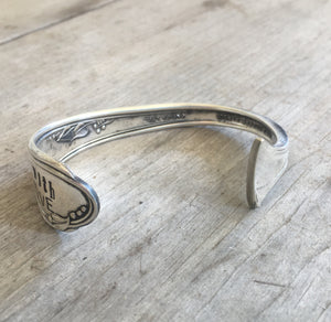 View of Opening of Hand Stamped Spoon Cuff Bracelet