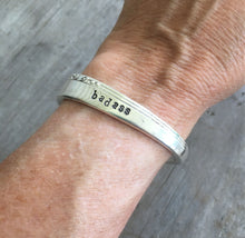 Nobility Plate Caprice Hand Stamped Spoon Bracelet Badass shown on model