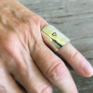 Spoon Cuf Ring Hand Stamped with a Heart Shown on Model