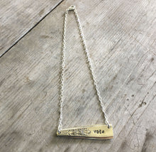 Upcycled Spoon necklace Hand Stamped Vote