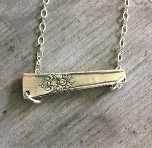Back of silverware bar necklace