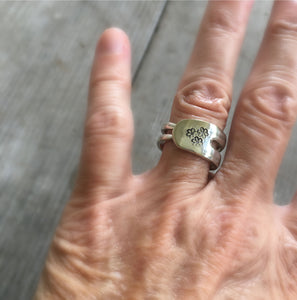 Hand Stamped Fork Ring with Daisies on it