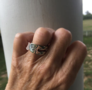 Hand stamped fork ring shown on model