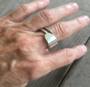 Double fork tine ring shown on model's hand
