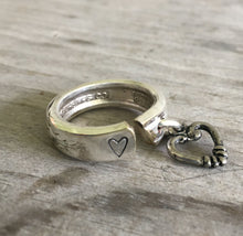 Spoon Ring - Stamped with Heart - Heart Charm - #4448