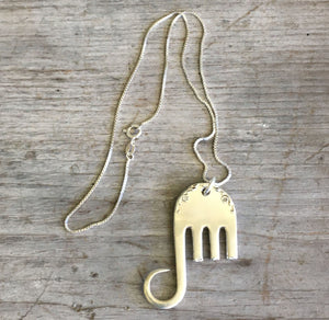Backside of Sterling Silver Fork Elephant Necklace from Gorham Buttercup Sterling Silverware Pattern
