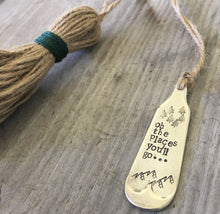 Upcycled silverware Hand stamped silverware bookmark with twine tassel