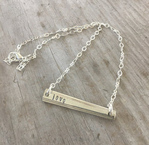 Scrap Bar Silverware Necklace - LOVE - #4499