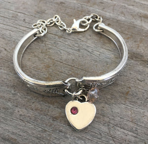 Silverware bracleet with Silverplate heart charm