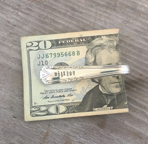 Spoon MOney Clip Hand Stamped WHISKEY