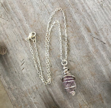 Raw Amethyst Wire Wrap Necklace with Upcycled Silverware Pieces