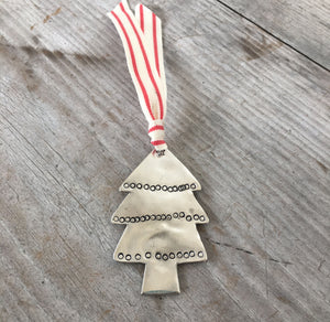 Eco Friendly Christmas Tree Ornament with Hand Stamped decorations