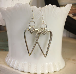 Upcycled Silverware Heart Hoop Pierced Dangling Earrings
