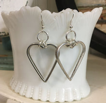 Pierced Dangle hoop earrings hearts made from upcycled fork tines