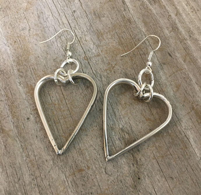 Fork Tine Heart Pierced Earrings
