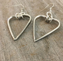 Pierced Dangle hoop earrings made from upcycled silverware