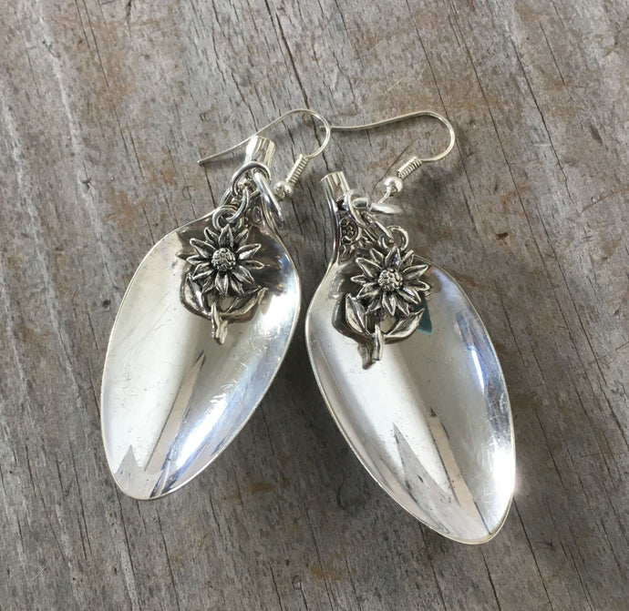 Demitasse spoon earrings with flower charm