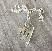 Fork Elephant Necklace with Hamsa Bead - #4575