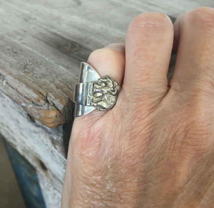 Sterling Spoon Cuff Ring Elephant - #4577