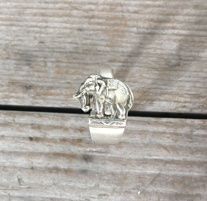 Sterling Spoon Ring Elephant - #4578