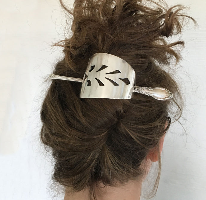 Cake Server Stick Barrette Shown in Model Hair