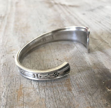 Other end of stamped spoon cuff bracelet
