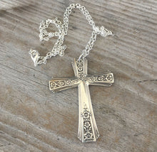 Cross necklace made from upcycled vintage silverplate spoon handles