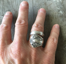 Upcycled Spoon Ring shown on model's hand