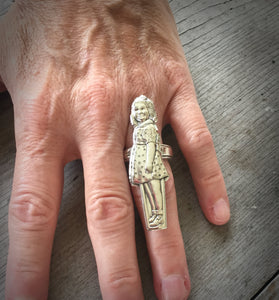 Dionne Quintuplets Figural Spoon Ring Yvonne Size 7 Shown on Model Hand