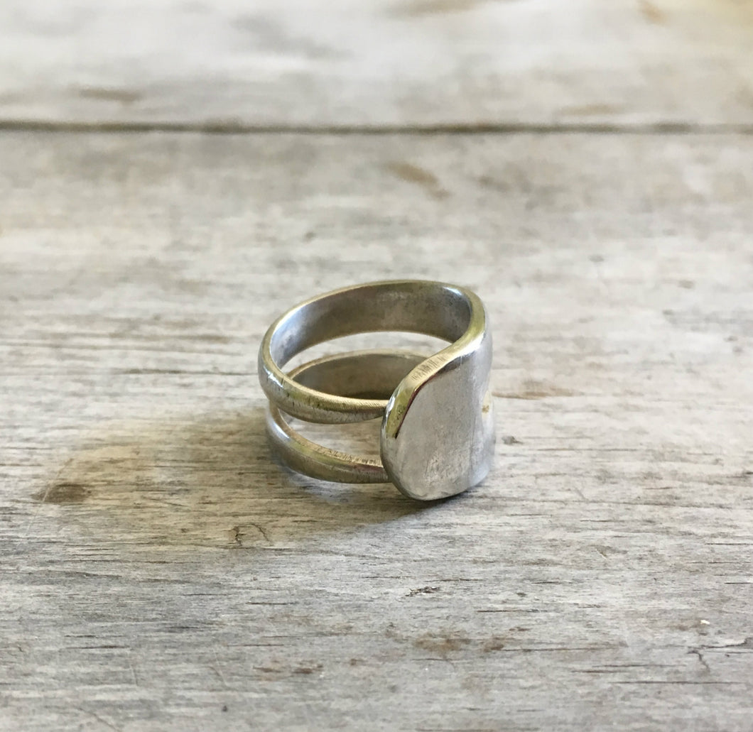 Upcycled Silver Double Fork Tine Ring Modern Aesthetic